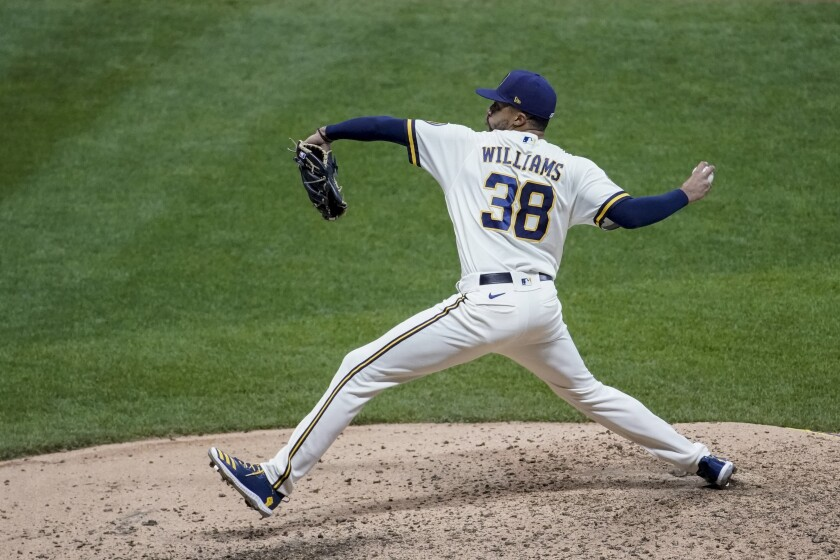 Devin Williams pitches against the Chicago White Sox on Aug. 4 in Milwaukee.