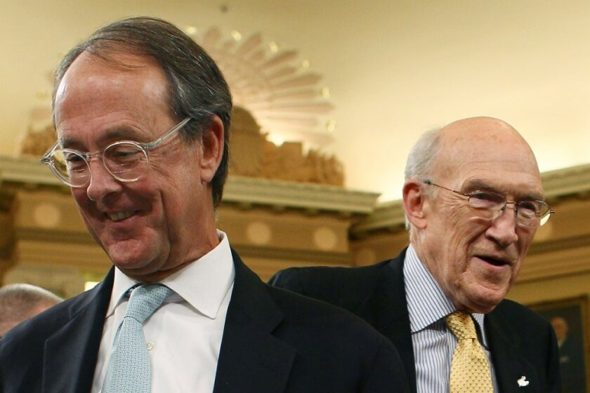 Erskine Bowles, left, and Alan Simpson, co-chairmen of the National Commission on Fiscal Responsibility and Reform.
