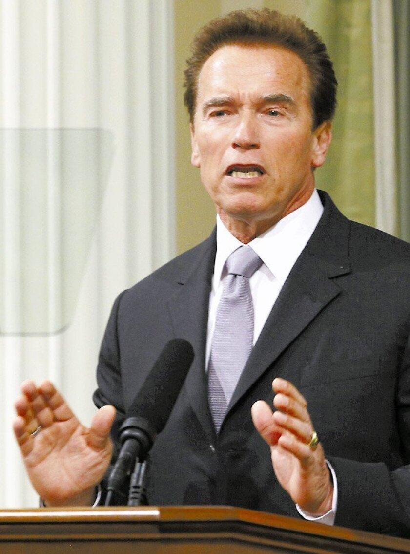 Gov. Arnold Schwarzenegger yesterday in Sacramento.