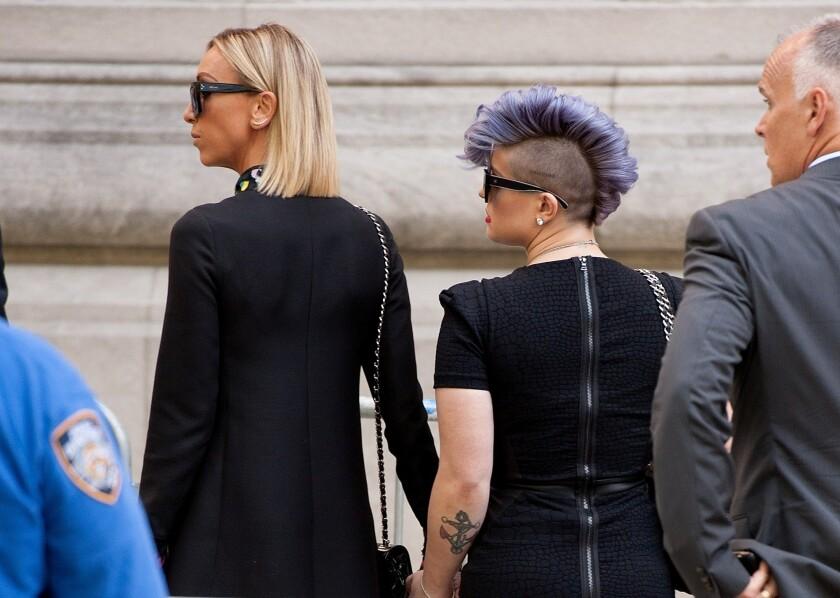 Giuliana Rancic and Kelly Osbourne at Joan Rivers' funeral