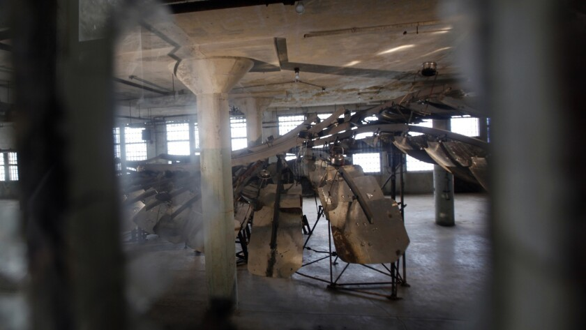 """""""@Large: Ai Weiwei on Alcatraz"""" included the 5-ton installation """"Refraction,"""" made from the reflective panels of Tibetan solar cookers, seen on Sept. 24, 2014."""