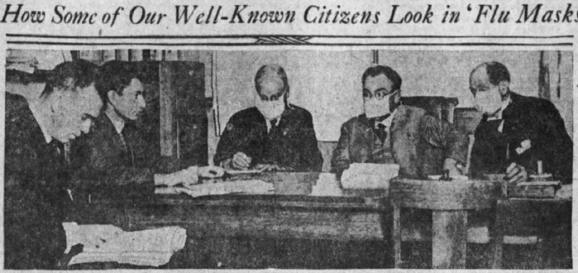 Oct. 24, 1918, photo in Los Angeles Times of the city's draft board during a desertion hearing.