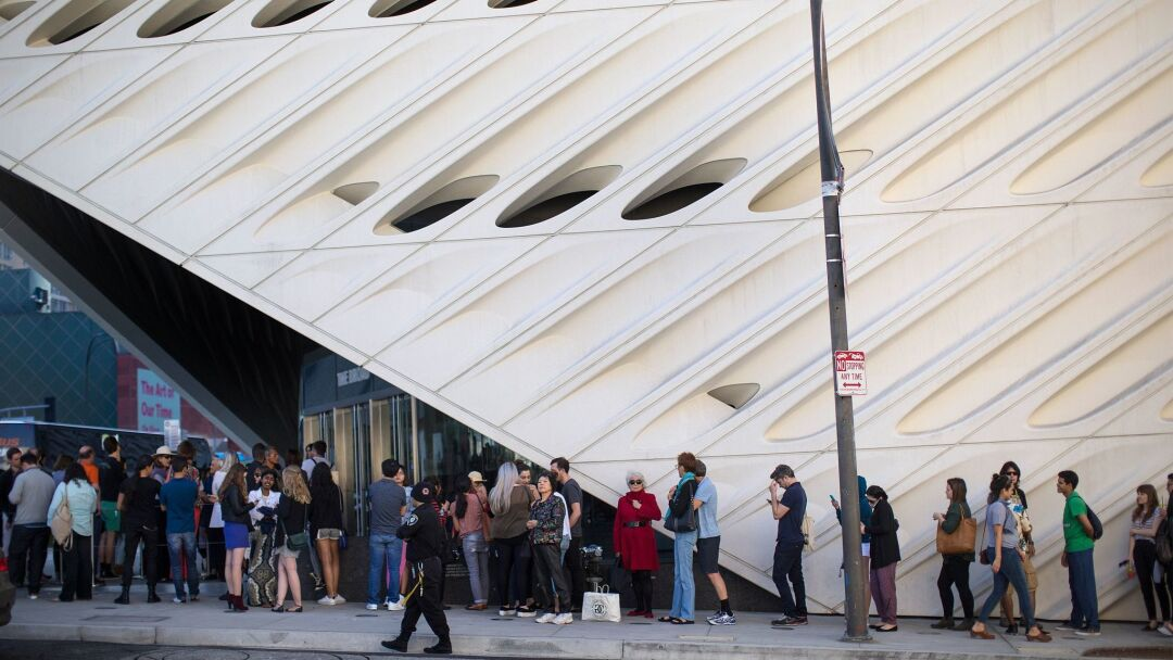 The line outside The Broad. Six months after the museum's opening in downtown Los Angeles, data showed that 70% of the guests were under the age of 34.