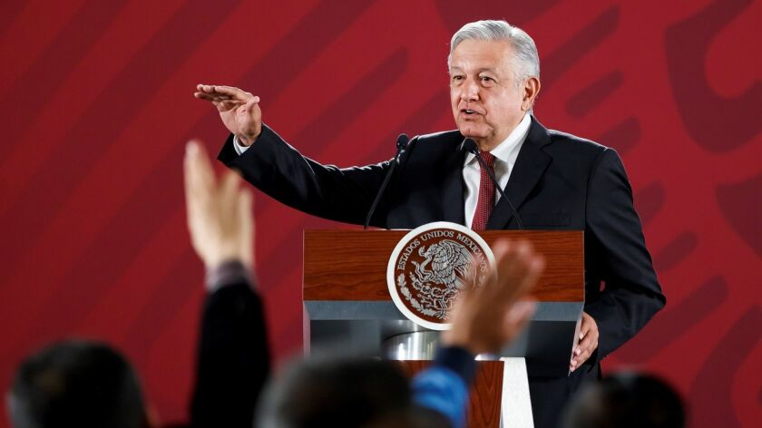 Mexican President Andres Manuel Lopez Obrador speaks during his morning news conference at the National Palace in Mexico City on June 3, 2019.