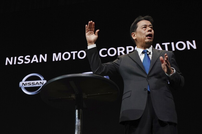 Nissan Chief Executive Makoto Uchida speaks during a press conference at the automaker's headquarters in Yokohama, near Tokyo Monday, Dec. 2, 2019. Nissan's new chief executive Makoto Uchida reaffirmed the importance of the Japanese automaker's alliance with Renault Monday, as it strives to puts its financial scandals behind it. (AP Photo/Eugene Hoshiko)