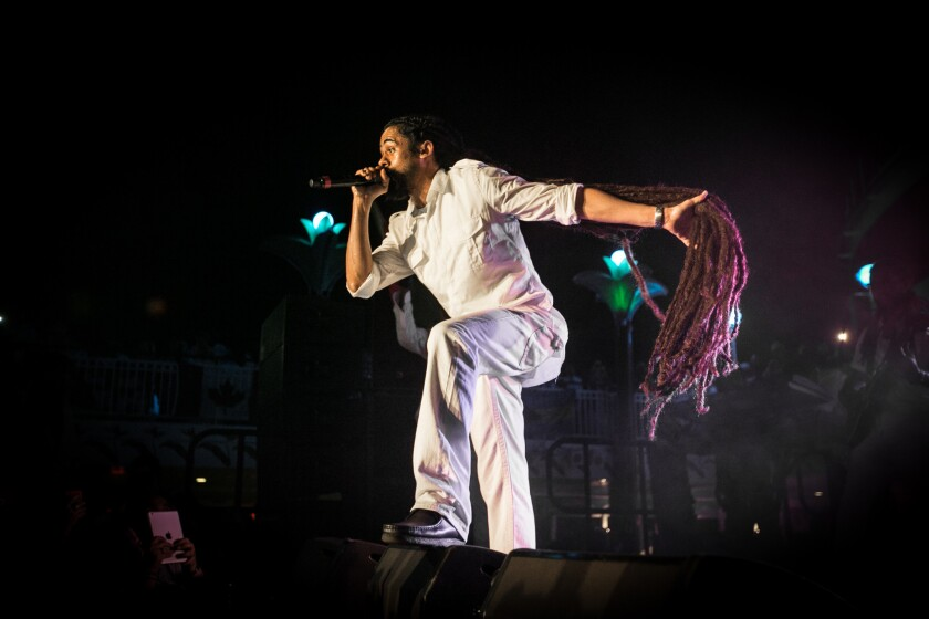 Damian Marley performs on the pool deck during the 2015 Jamrock Reggae Cruise.
