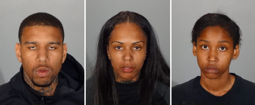 From left to right: Los Angeles residents Dominique Mims, Taylor Ward and Tayah Murray were arrested by Glendale police on Thursday for allegedly burglarizing two homes and leading police on a short vehicle chase.