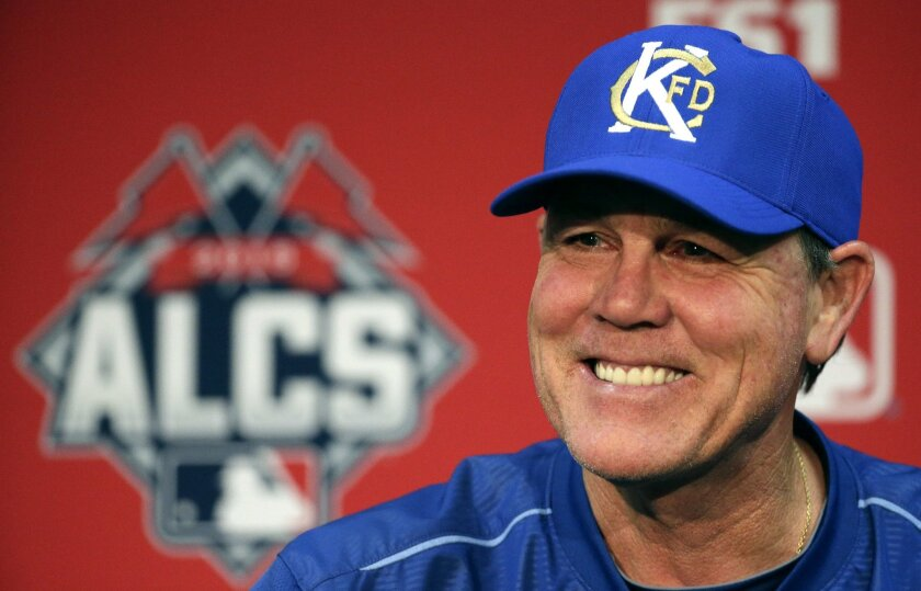 Kansas City Royals manager Ned Yost talks to the media during a news conference before batting practice for baseball's American League Championship Series Thursday, Oct. 15, 2015 in Kansas City, Mo. The Royals will face the Toronto Blue Jays in Game 1 tomorrow. (AP Photo/Charlie Riedel)
