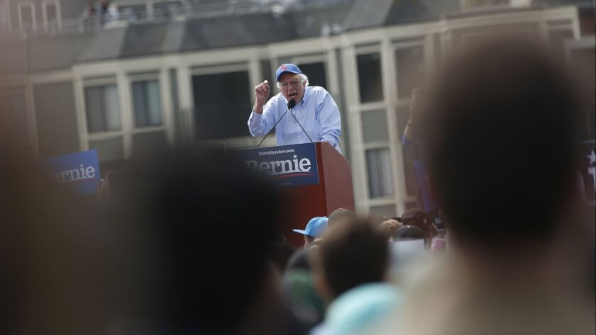 Sen. Bernie Sanders (I-Vt.) speaks during a campaign rally in San Francisco on March 24.