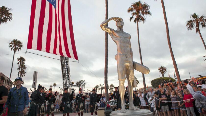 NEWPORT BEACH, July 6, 2016 - The stainless steel statue of fallen Newport Beach lifeguard Ben Carl