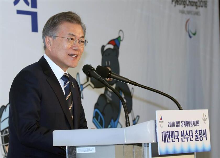 El presidente de Corea del Sur, Moon Jae-in, durante una conferencia de prensa. EFE/Archivo