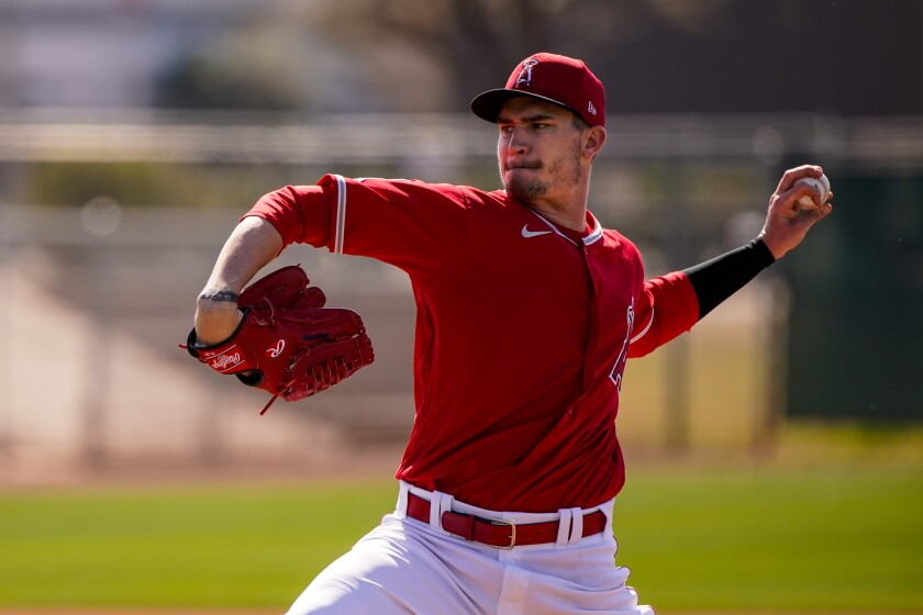 Angels right-hander Andrew Heaney pitches during a spring training practice Feb. 18 at Tempe Diablo Stadium.