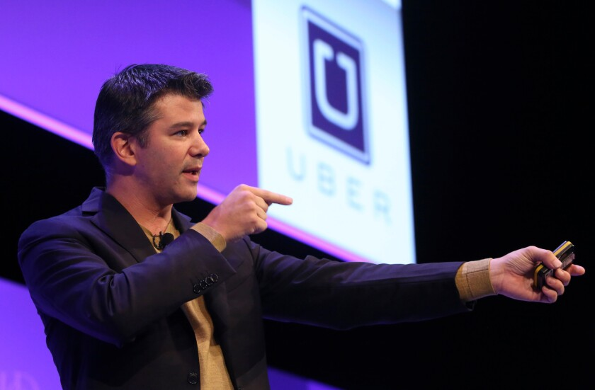 Uber founder Travis Kalanick, shown speaking at the Institute of Directors annual convention in London last month, is in the middle of a self-inflicted PR disaster.