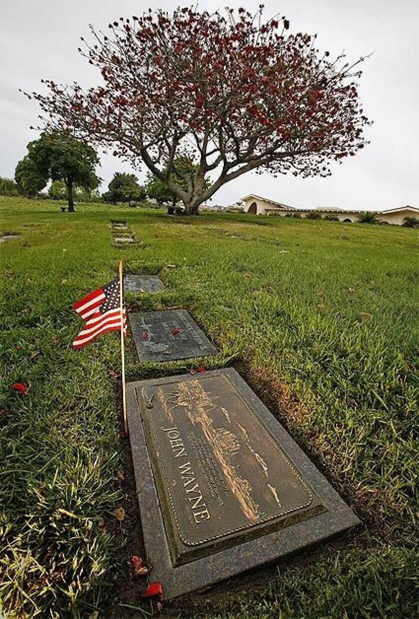 John Wayne's grave marker at Pacific View Memorial Park in Corona del Mar.