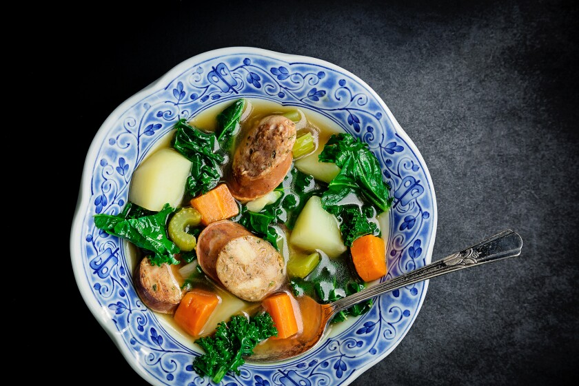 Sausage and Kale Soup With Carrots and Potatoes is the perfect midweek, it's-cold-outside kind of meal.