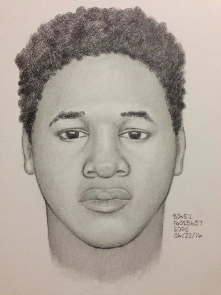 Sketch of suspect in the June 19 attempted sexual assault at 24 Hour Fitness on Imperial Avenue in the Mountain View neighborhood.