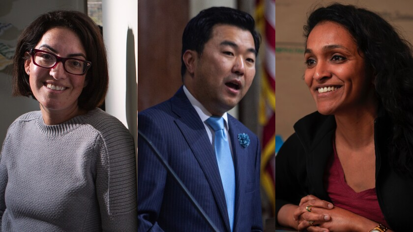 Los Angeles City Council candidates Sarah Kate Levy, left, David Ryu and Nithya Raman are running to represent a district that stretches from Sherman Oaks to the Miracle Mile. All have signed a pledge against fossil fuel donations.