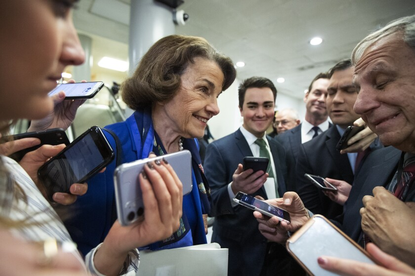 California Sen. Dianne Feinstein talks to reporters in the Capitol on Tuesday.