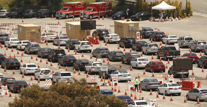 Drivers line up for coronavirus tests at Dodgers Stadium last summer.