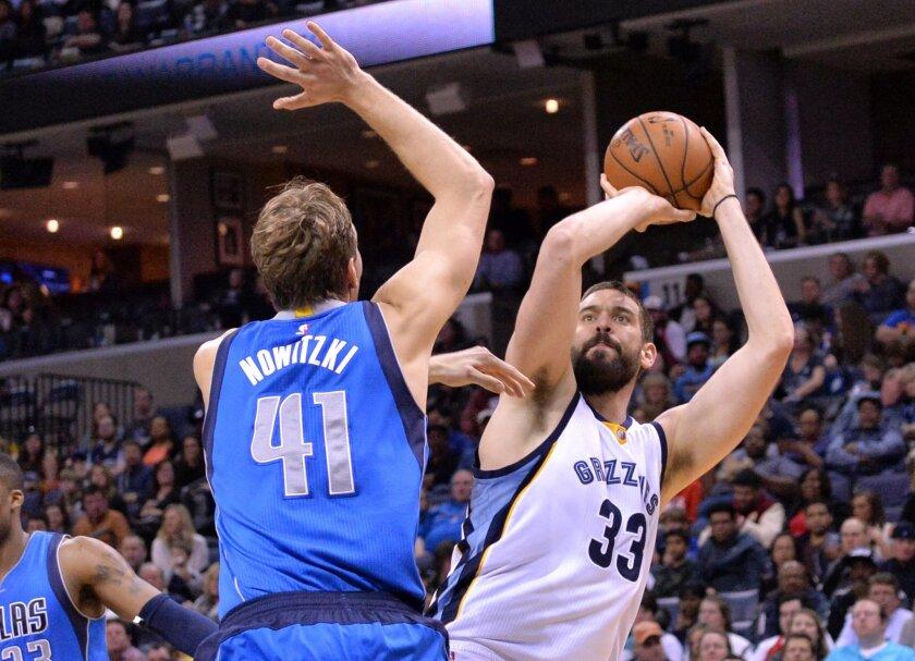 Memphis Grizzlies center Marc Gasol (33) shoots against Dallas Mavericks forward Dirk Nowitzki (41) in the second half of an NBA basketball game Saturday, Feb. 6, 2016, in Memphis, Tenn. (AP Photo/Brandon Dill)