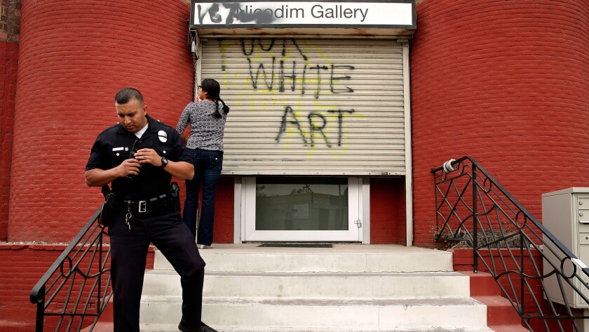 Police investigate vandalism at Nicodim Gallery on South Anderson Street in Boyle Heights. The presence of galleries has raised alarm about gentrification.