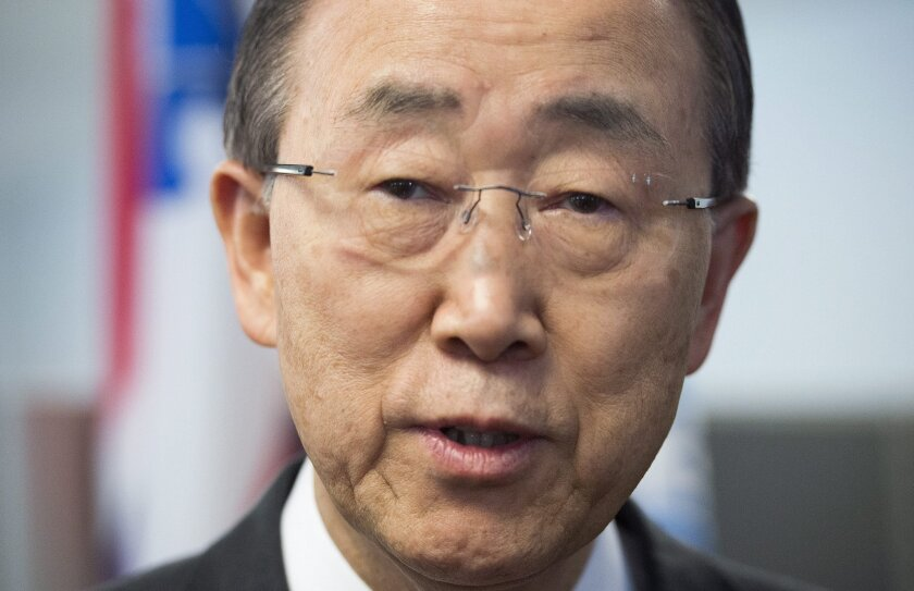 FILE - In a Saturday, Feb. 13, 2016 file photo, United Nations Secretary General Ban Ki-moon speaks to reporters as he visits an anti-radicalization centre in Montreal. Secretary-General Ban Ki-moon warned Wednesday, Feb. 17, 2016, that escalating military activity in Syria and threats of further u