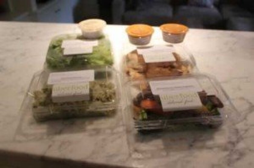 An example of a dinner meal from uberfood that is delivered to one's door and owners say will keep fresh for nearly a week. Ashley Mackin