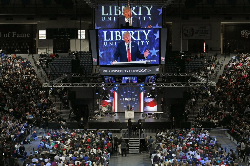 Donald Trump delivers the convocation at the campus of Liberty University in Lynchburg, Va. in Janury. The non-profit, private Christian university was founded in 1971 by evangelical Southern Baptist televangelist Jerry Falwell.