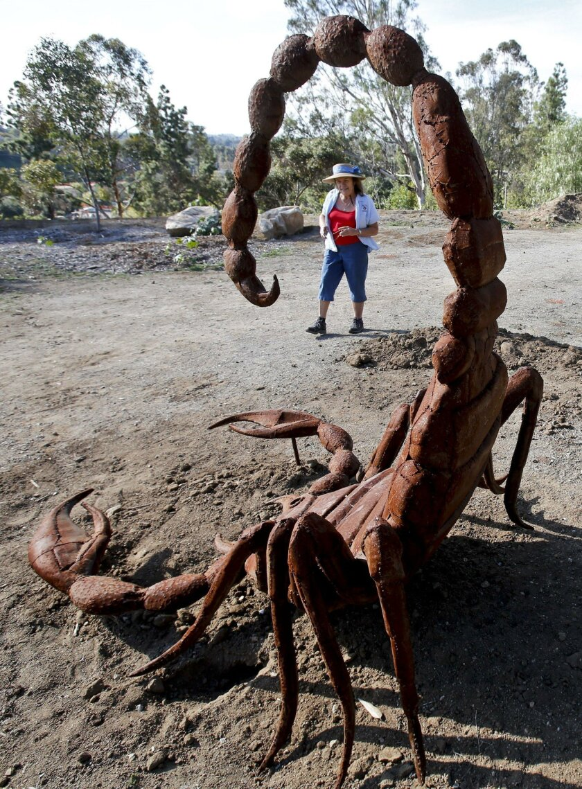 Nancy B Jones, who works as the director of children's programs at the Alta Vista Botanical Garden at Brengle Terrace Park in Vista, walks past a large scorpion sculpture by artist Ricardo Breceda that has recently been installed at the garden.  Photo by Don Boomer