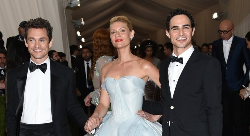 """Hugh Dancy, from left, Claire Danes and Zac Posen arrive at The Metropolitan Museum of Art Costume Institute Benefit Gala, celebrating the opening of """"Manus x Machina: Fashion in an Age of Technology"""" on Monday, May 2, 2016, in New York."""