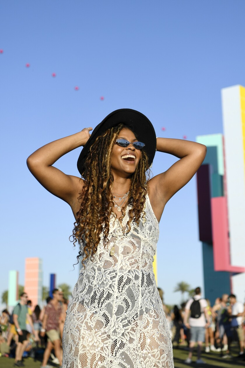 INDIO, CA-April 13, 2019: Houston, TX resident Keisha Gallien rocks her boho-vibe during day 2 at t