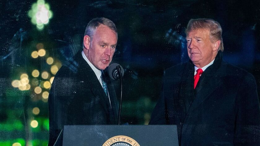 On a blustery day last month in Washington, D.C., Interior Secretary Ryan Zinke joined his chief enabler, President Trump, for the national Christmas tree lighting.