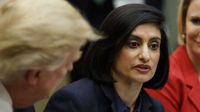 "Seema Verma, administrator of the Centers for Medicare and Medicaid Services, speaks during a White House meeting with President Trump in 2017. She hailed a new Medicaid block grant plan Jan. 30 as ""groundbreaking."""