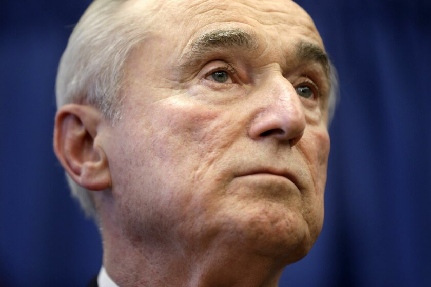 """CORRECTS SPELLING OF LAST NAME TO BRATTON, NOT BRATON - William Bratton listens during a news conference in New York, Thursday, Dec. 5, 2013. Bratton, whose tenure as New York City police commissioner in the 1990s was marked by a steep decline in crime and clashes with then-Mayor Rudolph Giuliani, has been chosen to lead the nation's largest police force again. New York Mayor-elect Bill de Blasio announced the appointment Thursday, saying Bratton is a """"proven crime-fighter"""" who knows how to keep the city safe. (AP Photo/Seth Wenig)"""