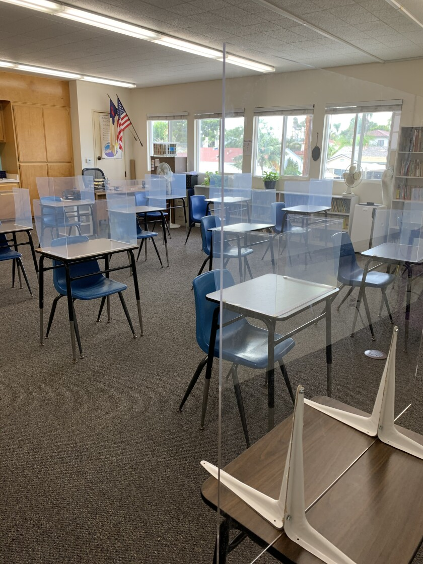 A classroom at St. Paul's Lutheran School. The private school in Pacific Beach begins its school year Sept. 2.