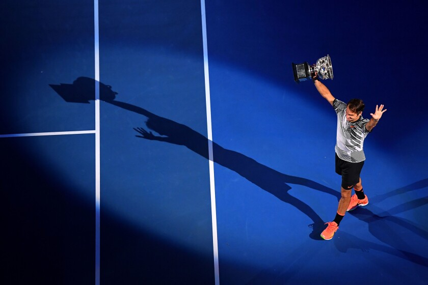 Roger Federer after winning the Men's Final match against Rafael Nadal of Spain at the 2017 Australian Open at Melbourne Park on January 29, 2017 in Melbourne, Australia.