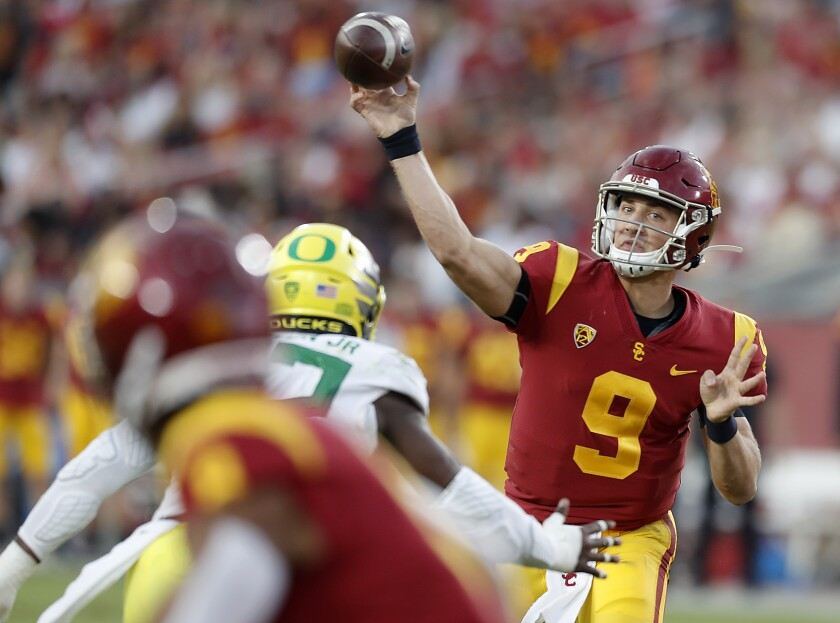USC freshman quarterback Kedon Slovis makes a pass from the pocket against Oregon during a game Nov. 2, 2019.