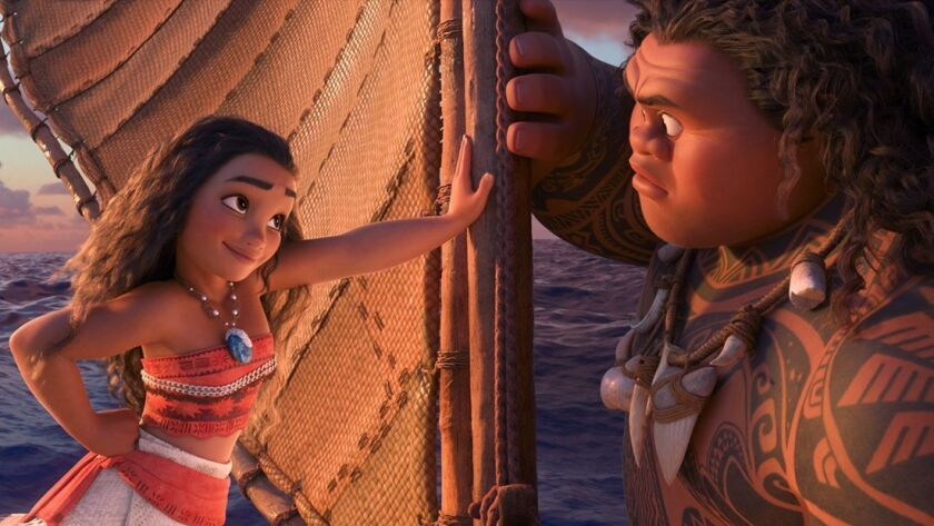 """""""Moana,"""" which won the Thanksgiving box office, stars Auli'i Cravalho as a princess on a mission, and Dwayne Johnson as a tattooed demigod who accompanies her."""