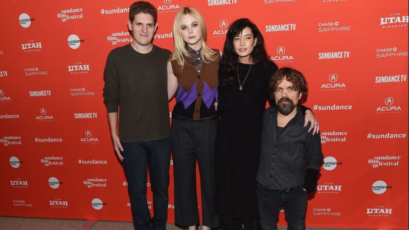 "Writer Mike Makowsky, actress Elle Fanning, director Reed Morano and actor Peter Dinklage attend the ""I Think We're Alone Now"" premiere during the 2018 Sundance Film Festival at Eccles Center Theatre on Jan. 21, 2018 in Park City, Utah."