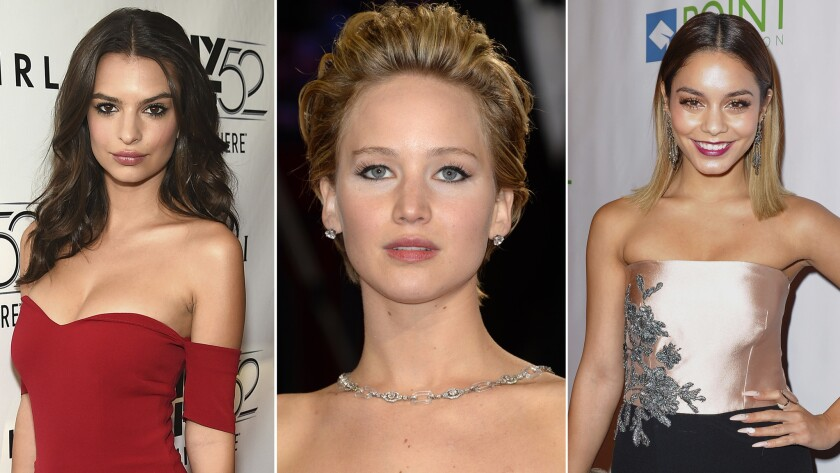 Emily Ratajkowski, left, Jennifer Lawrence and Vanessa Hudgens are a few of the celebrities who have seen their private photos illegally obtained and then posted online in a massive hack that went public starting Labor Day weekend.