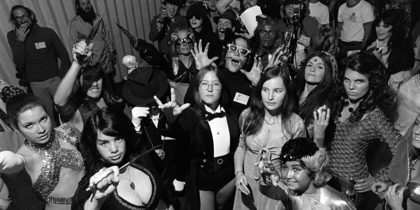 Comic fans in costume gathered at the San Diego Comic-Con in the El Cortez Hotel on July 31, 1974. It was the first year for the Masquerade costume contest.