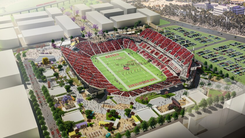An aerial rendering of the 35,000-person stadium San Diego State expects to build at the northwest corner of the Mission Valley site still owned by the city of San Diego.