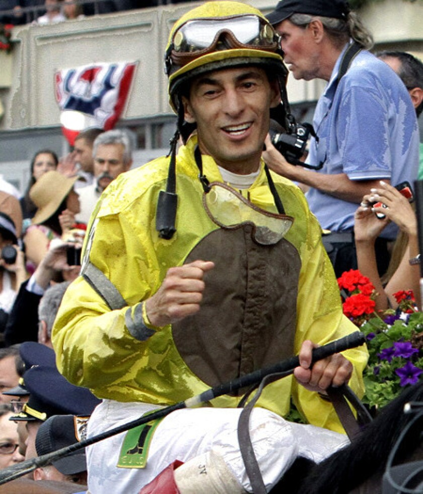 John Velazquez celebrates after riding Union Rags to victory in the Belmont Stakes last year.