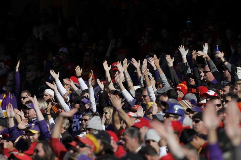 Kansas City Chiefs fans do the chop against the Minnesota Vikings in Kansas City, Mo., on Nov. 3, 2019.