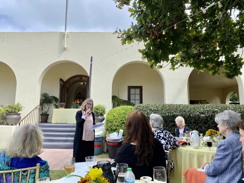 Local historian and author Molly McClain speaks at the Oct. 11 meeting of the La Jolla Woman's Club.