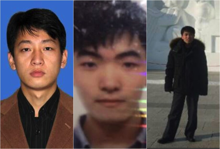 From left, Park Jin Hyok, Kim Il and Jon Chang Hyok are accused in cyberattacks.