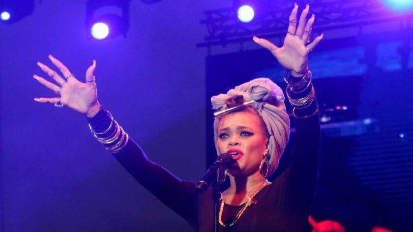 San Diego-bred singer-songwriter Andra Day, who was nominated for two Grammy Awards last year, won Album of the Year honors at the 2017 San Diego Music Awards Tuesday.