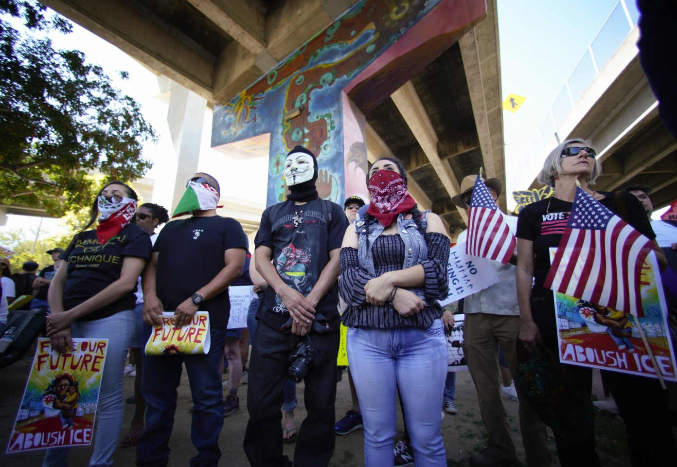 Protestors staged at Chicano Park where they heard from speakers before the march to downtown for the Free Our Future protest that opposes family separation.