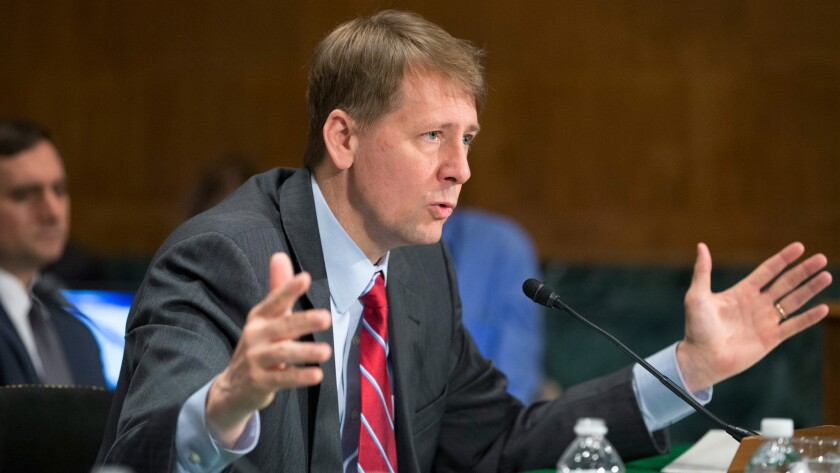 Richard Cordray, then-director of the Consumer Financial Protection Bureau, testifies before a Senate panel in 2016.