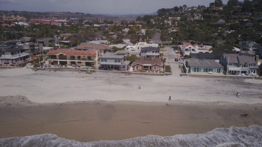 Homes along Ocean Front between Powerhouse Park and the San Dieguito River in Del Mar are threatened by rising sea levels.